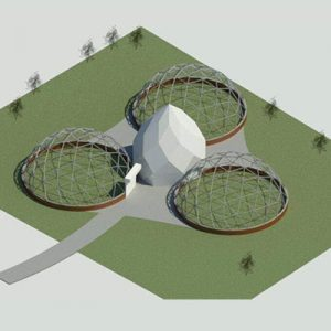"3) 48'8"" Domes With Center 20' Zome"